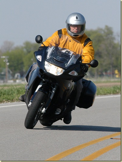 John Flora aboard his new BMW K1200GT. Suit is the BMW Summer one-piece coverall, helmet is the Schuberth Concept. Photo taken by Maria J. Flora on Ind. 75 just south of Thorntown, Ind.