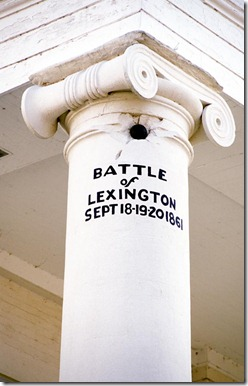 LEXINGTON, Mo. - A cannonball from the Civil War Battle of Lexington remains lodged in a column of the Lafayette County Courthouse in Lexington, Mo.