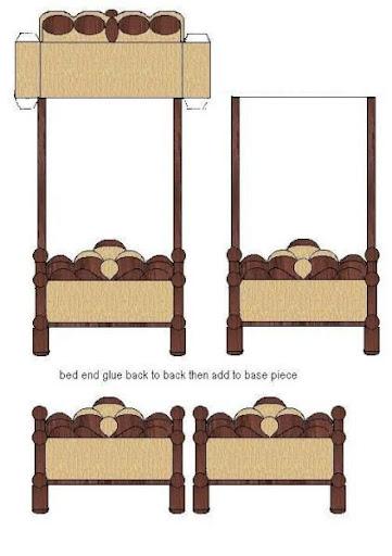 Maqueta de una cama recortable de una cama for Sillas para armar y recortar