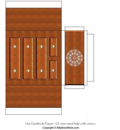 Maqueta de una comoda recortable de un mueble auxiliar for Sillas para armar y recortar