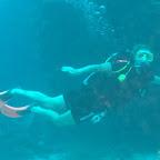 Angie bei ihrem ersten Flugstunden unter Wasser