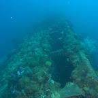 Die SS Yongala liegt auf der Seite in einer Tiefe von 15-30 Meter