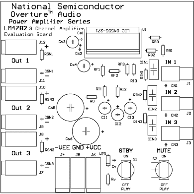 Amplifier of potência três channels with circuit integrated lm4782