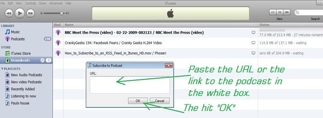 SCreen shot Itunes RSS 3