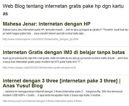 Konten Blog Spam dengan isi hasil pencarian.