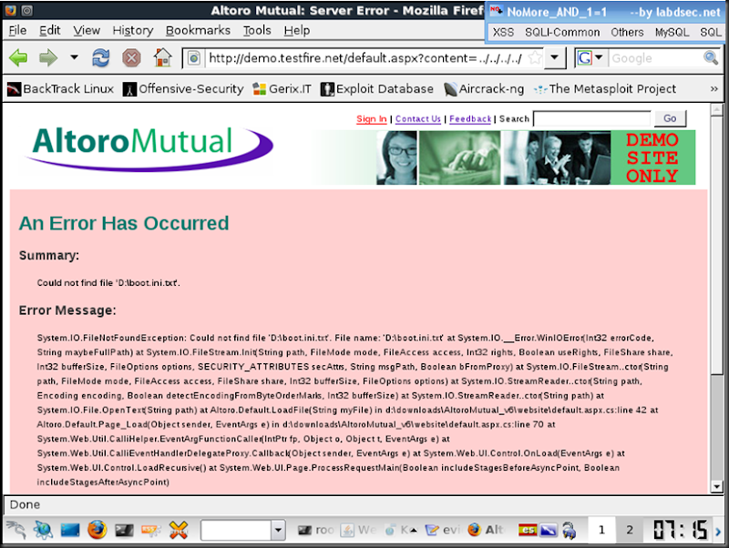 eslimasec's blog: A glance at Altoro Mutual