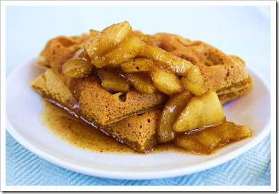 pumpkin waffles with apples cinnamon nutmeg maple syrup