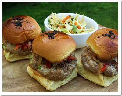 pork sliders with kimchi, asian, mini burgers