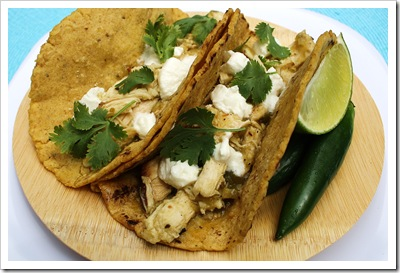 tomatillo chicken tacos with hot bread kitchen corn tortillas, northwind farm chicken, coach farm goat chees, hudson valley chiles