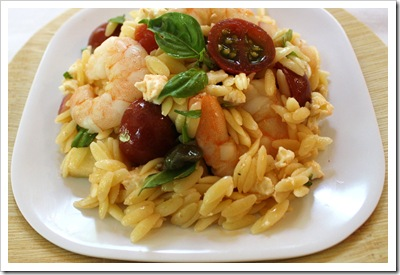 orzo salad with shrimp, four winds farm heirloom tomatoes, basil, feta cheese