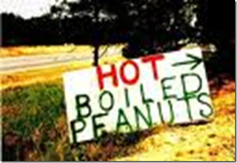 hot boiled peanuts sign