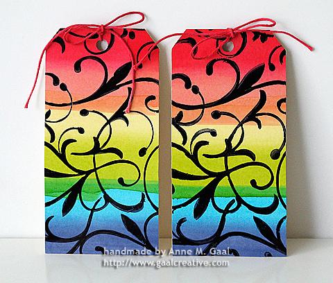 Rainbow Alcohol Ink Tags