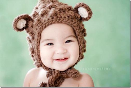 gorro niño de lana orejas osito