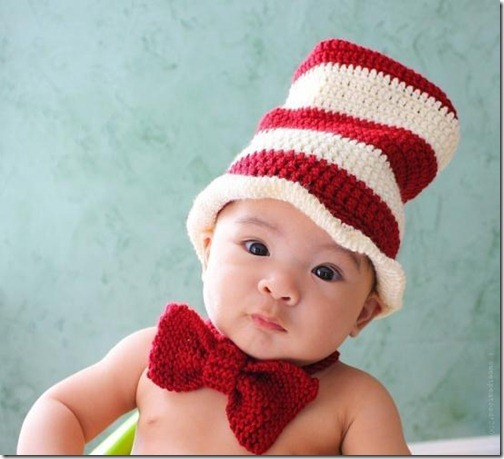 gorro y pajarita lana rayas niño