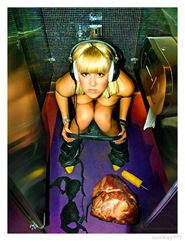 DJ Lea Luna - Fake Caught Mid Business in a Nightclub Toilet Stall With Yellow Shoes Pointing Out a Black Brassiere & Big Boned Ham w/ Disconnected Headphones on a Purple Floor as a Corn Cob Flat Endedly Points Back
