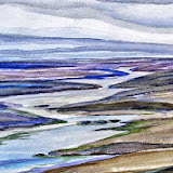 Waddenzee, aquarel