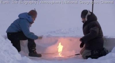 بیرون آمدن آتش از دل یخ