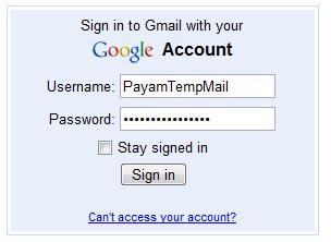 وارد کردن نام کاربری و رمز عبور