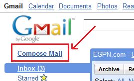 بر روی نوشتۀ Compose Mail کلیک کنید