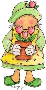clipart imagem decoupage  Lady Flowers