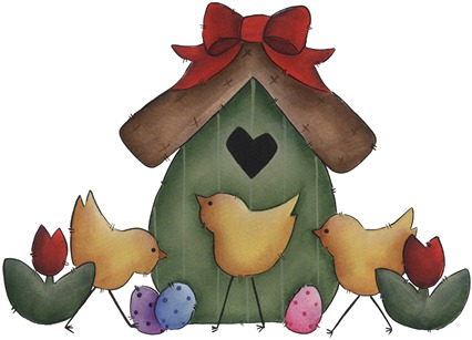 clipart imagem decoupage Three Chicks