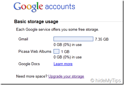 Google Storage Space for Particular User