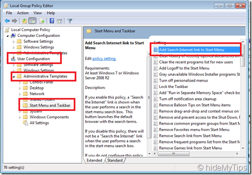 Searching the Internet from the Start Menu in Windows 7