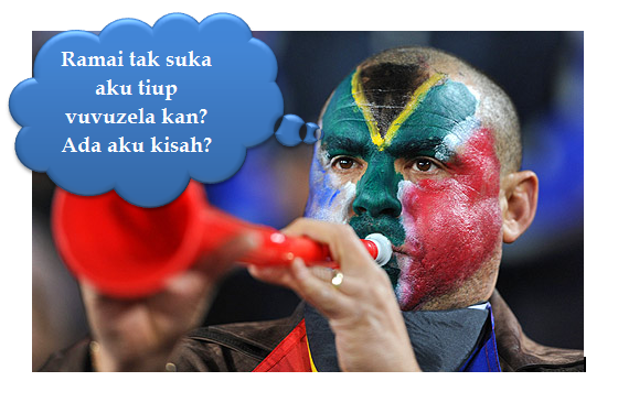 Tangani bunyi vuvuzela ketika menonton Piala Dunia 2010 Afrika