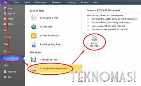 Cipta PDF atau XPS dengan Microsoft Word 2010