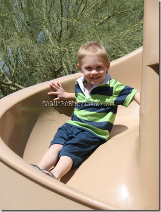 big smile on slide JB