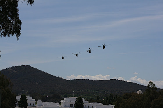 Blackhawk helicopters over Canberra