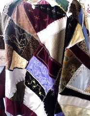 Crazy quilt in velvet silk and satin