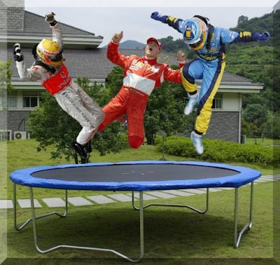 прыжки чемпионов Хемилтон Шумахер Алонсо