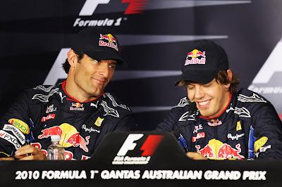 Марк Уэббер и Себастьян Феттель на пресс-конференции Гран-при Австралии 2010