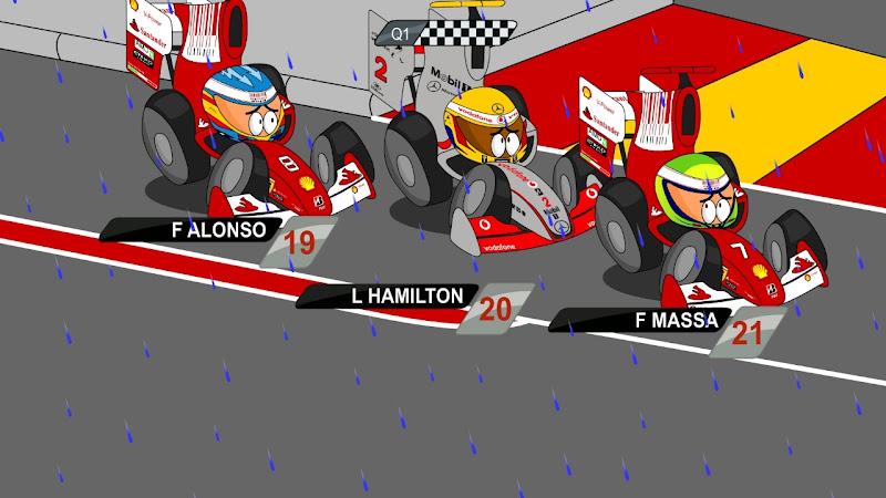 Алонсо Хэмилтон Масса дождевая квалификация на Гран-при Малайзии 2010