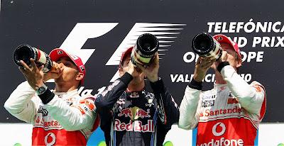 подиум Гран-при Европы 2010