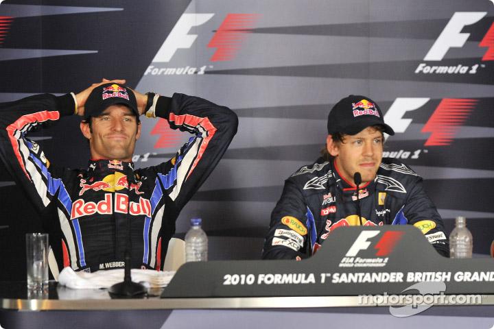 Марк Уэббер и Себастьян Феттель на пресс-конференции после квалификации на Гран-при Великобритании 2010