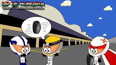 Нико Росберг ищет колесо у механиков Williams и Sauber на Гран-при Венгрии 2010