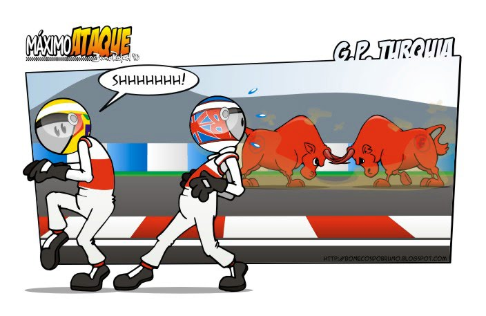 Льюис Хэмилтон и Дженсон Баттон проходят два Red Bull на Гран-при Турции 2010