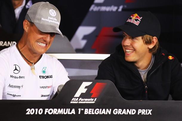 Михаэль Шумахер и Себастьян Феттель на пресс-конференции Гран-при Бельгии 2010