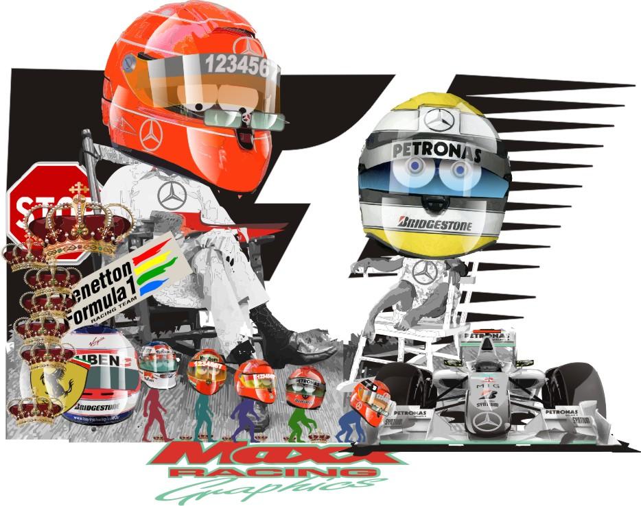 Михаэль Шумахер и Нико Росберг Mercedes GP Maxx Racing