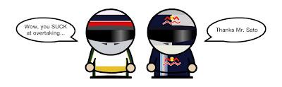Такумо Сато и Себастьян Феттель после Гран-при Бельгии 2010 Unlap