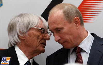 Берни Экклстоун и Владимир Путин на подписании контракта Гран-при Сочи 2014