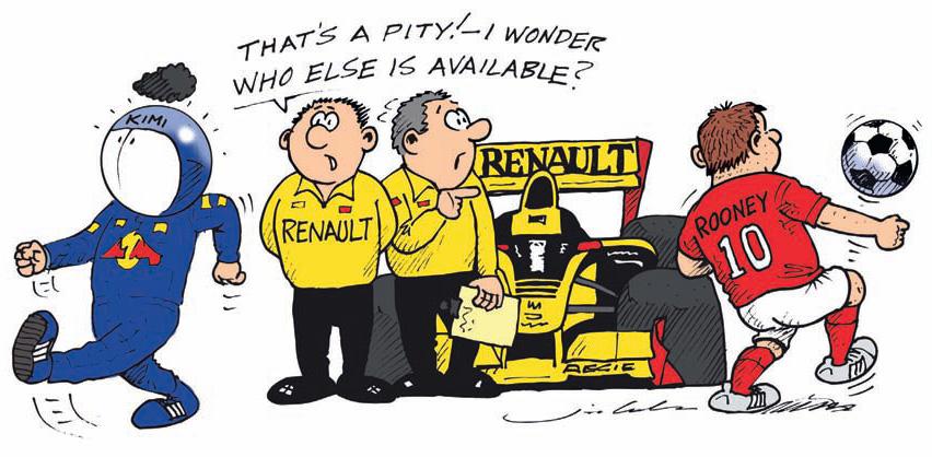 комикс Jim Bamber про Кими Райкконена и Renault