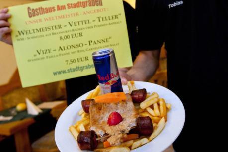 блюдо Себастьяна Феттелья и Red Bull в Хеппенхайме