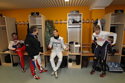 Алан Прост Михаэль Шумахер и Себастьян Феттель на Гонке чемпионов 2010