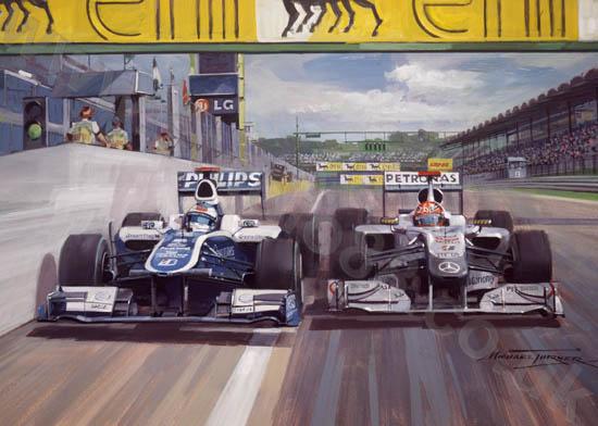 сражение Рубенса Баррикелло и Михаэля Шумахера на Гран-при Венгрии 2010