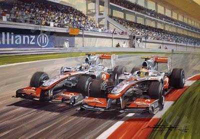 Льюис Хэмилтон и Дженсон Баттон идут колесо в колесо на трассе в Истамбуле на Гран-при Турции 2010 by Michael Turner