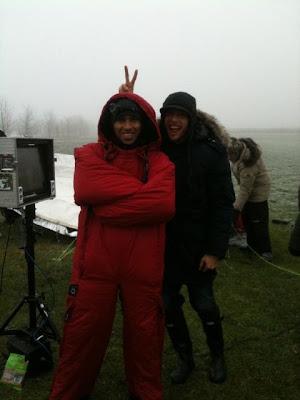 Льюис Хэмилтон и Дженсон Баттон на съемок для Vodafone 6 декабря 2010