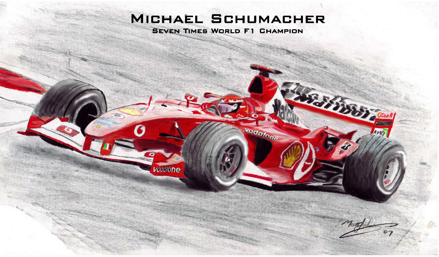 рисунок Михаэль Шумахер Ferrari